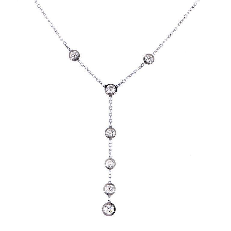 a841607c6aff24 Cartier White Gold Bezel Set Diamond Necklace at 1stdibs