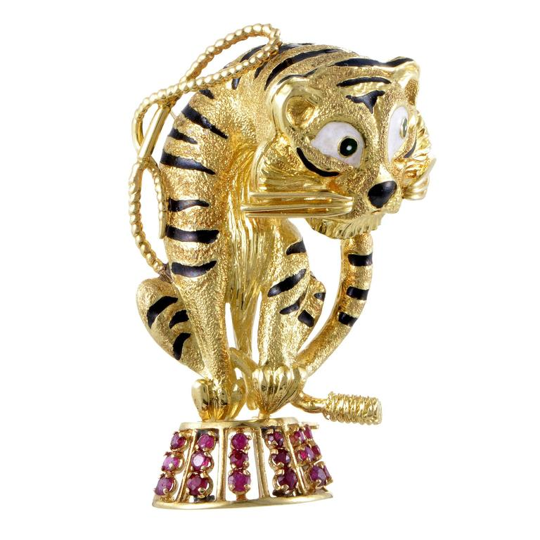 Enameled Yellow Gold and Ruby Circus Tiger Brooch