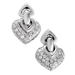 Bulgari Doppio Cuore White Gold Diamond Pave Clip-On Earrings