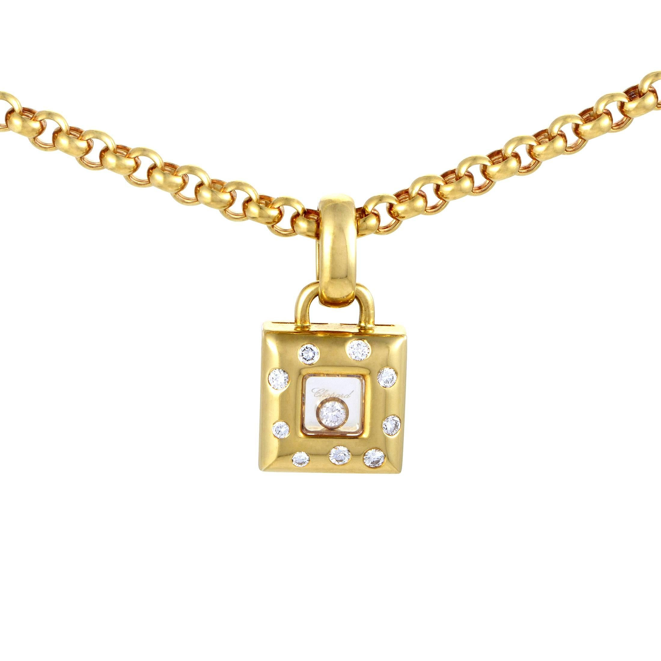 Chopard Happy Diamonds Yellow Gold Square Pendant Necklace At 1stdibs