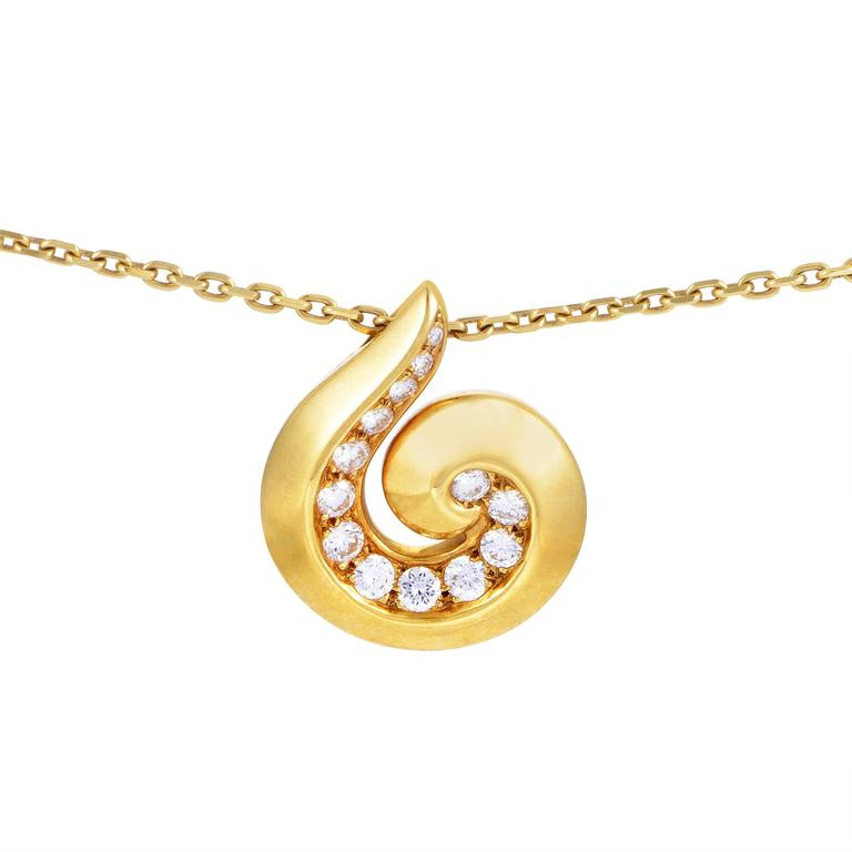Van Cleef & Arpels Yellow Gold Diamond Breeze Pendant Necklace