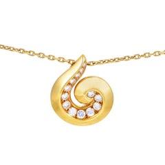 Van Cleef & Arpels Yellow Gold Diamond Breeze Pendant Necklace