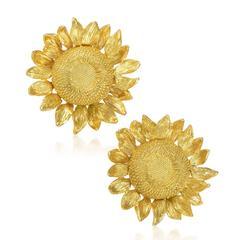 Asprey Yellow Gold Sunflower Clip-on Earrings