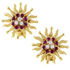 Tiffany & Co. Diamond Ruby Yellow Gold Sunburst Clip-on Earrings
