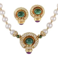 Pearl Diamond Gemstone Gold Clip-on Earring and Necklace Set