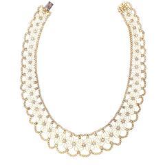 Piaget Diamond Gold Lace Bib Necklace