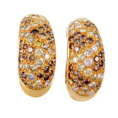 Cartier Sauvage Diamond Pave Gold Clip-on Earrings