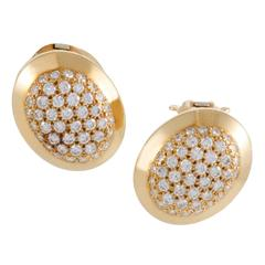 Cartier Diamond Pave Yellow Gold Clip-on Earrings