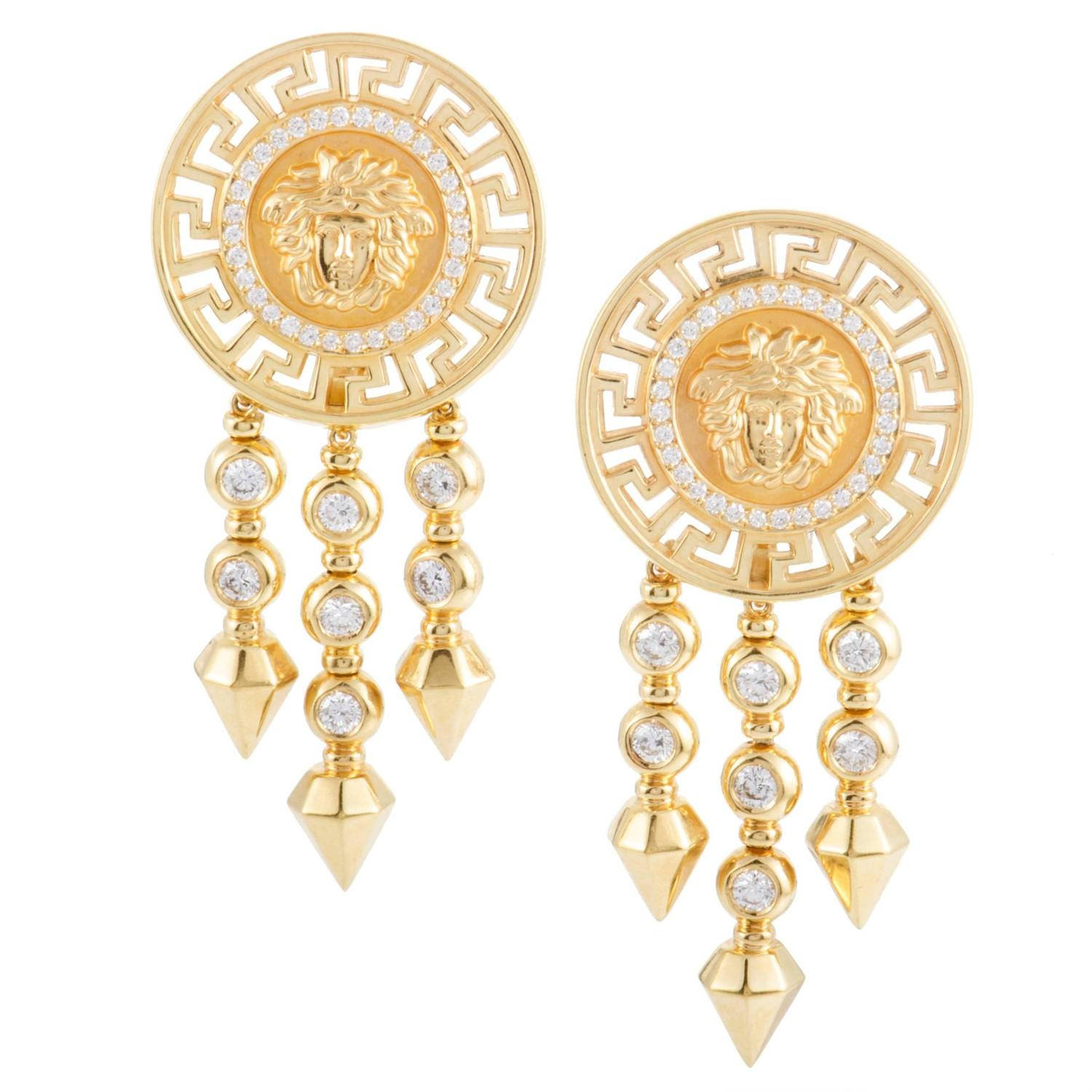 Versace Diamond Yellow Gold Clip Dangle Earrings For Sale at