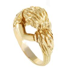 David Webb Carved Yellow Gold Band Ring