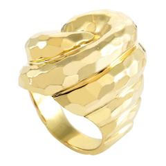 Henry Dunay Hammered Yellow Gold Cocktail Ring