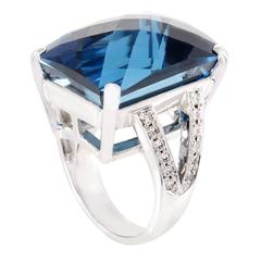 Diamond and Topaz White Gold Cocktail Ring