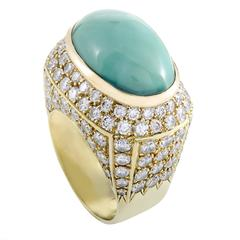 Turquoise Cabochon Diamond Pave  Yellow Gold Cocktail Ring
