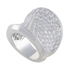 Cartier Diamond Pave Curved White Gold Band Ring