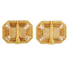 Boucheron  Diamond Gold Men's Place Vendome  Cufflinks