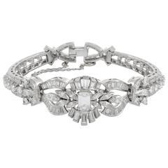 Diamond Platinum Floral Bracelet