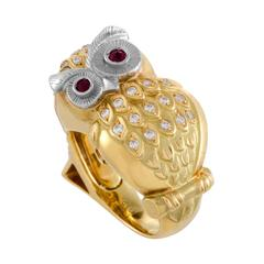 Mitsuo Kaji Diamond and Ruby 18 Karat Yellow and White Gold Ring