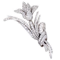 Full Diamond Pave White Gold Flower Brooch