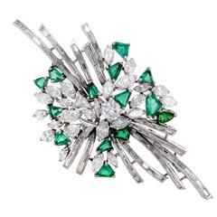 Emerald Diamond White Gold Brooch