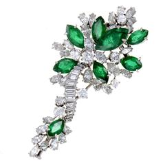 Emerald Diamond White Gold Floral Brooch