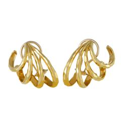 Henry Dunay Women's Hammered Yellow Gold Earrings