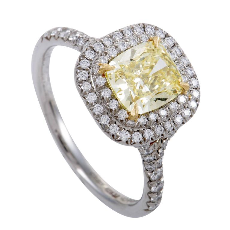 Tiffany & Co. Soleste White and Yellow Diamond Gold Platinum Engagement Ring For Sale
