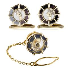 Chopard Happy Diamonds Yellow Gold Cufflinks and Tie Tag Set