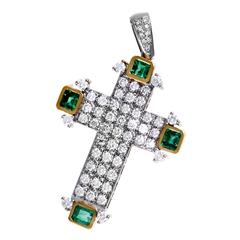 Full Emerald Pave Diamond Yellow and White Gold Cross Pendant