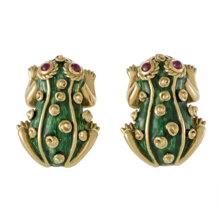 David Webb Ruby and Enameled Yellow Gold Frog Clip-On Earrings 1