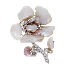 White Gold Diamond and Baroque Pearl Flower Brooch