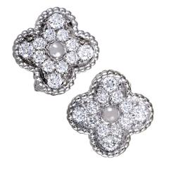 Van Cleef & Arpels Vintage Alhambra Diamond Pave White Gold Earrings