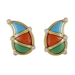 Dior Diamond Turquoise Coral and Jade Yellow Gold Clip-On Earrings
