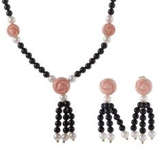 Dior Onyx Pearl and Coral Rosebud Yellow Gold Earring and Necklace Set
