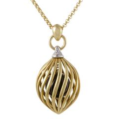Damiani Diamond and Caged Onyx Yellow and White Gold Pendant Necklace