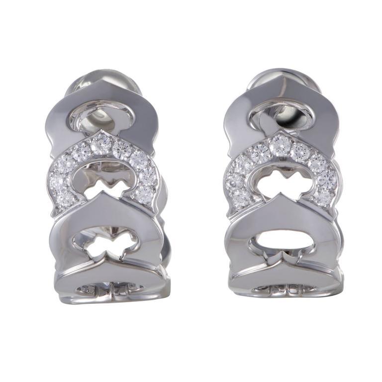 Cartier C de Cartier Diamond White Gold Clip-On Earrings 1