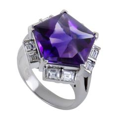 Amethyst Diamond Platinum Ring
