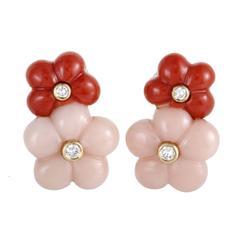 Van Cleef & Arpels Coral Diamond Yellow Gold Flower Clip-On Earrings