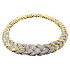 Italian Diamond Pave Braided Yellow Gold Choker Necklace