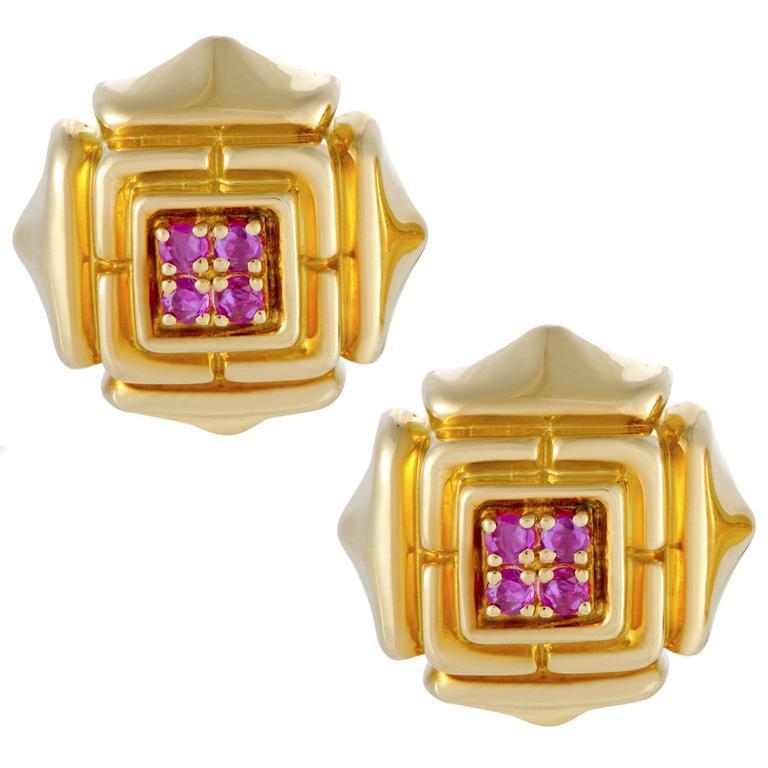 Cartier Ruby Yellow Gold Earrings