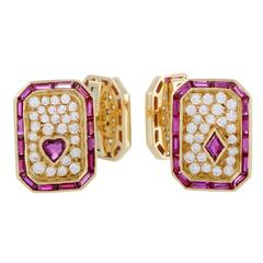 Graff Ruby Sapphire Pave Diamonds Yellow Gold Cufflinks