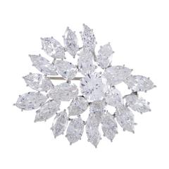 Harry Winston Diamond Platinum Cluster Brooch
