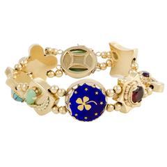 Enameled Gemstone Yellow Gold Bracelet
