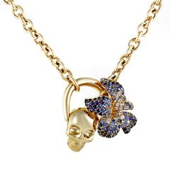 Gucci Flora Sapphire Pave Yellow Gold Skull Pendant Necklace