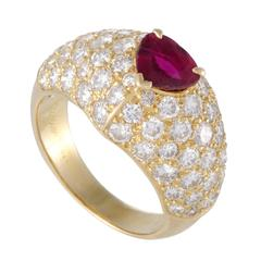 Cartier Diamond Pave Ruby Yellow Gold Solitaire Band Ring