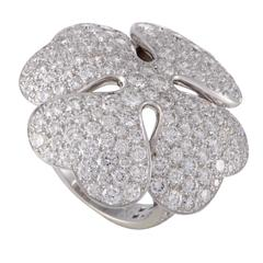 Cartier Anniversary Edition Full Diamond Pave White Gold Clover Cocktail Ring
