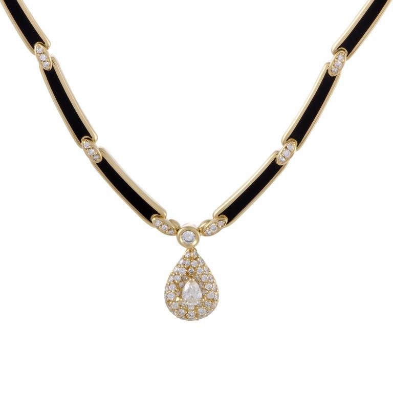 Korloff Diamond and Enameled Yellow Gold Pendant Necklace