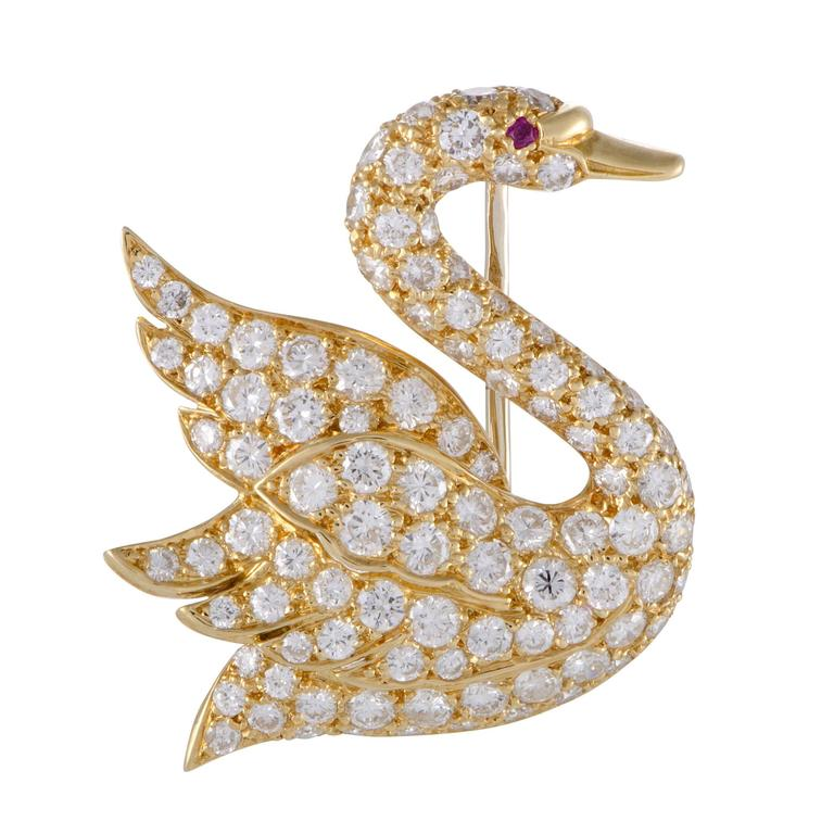 Mauboussin Ruby Full Diamond Pave Yellow Gold Swan Brooch