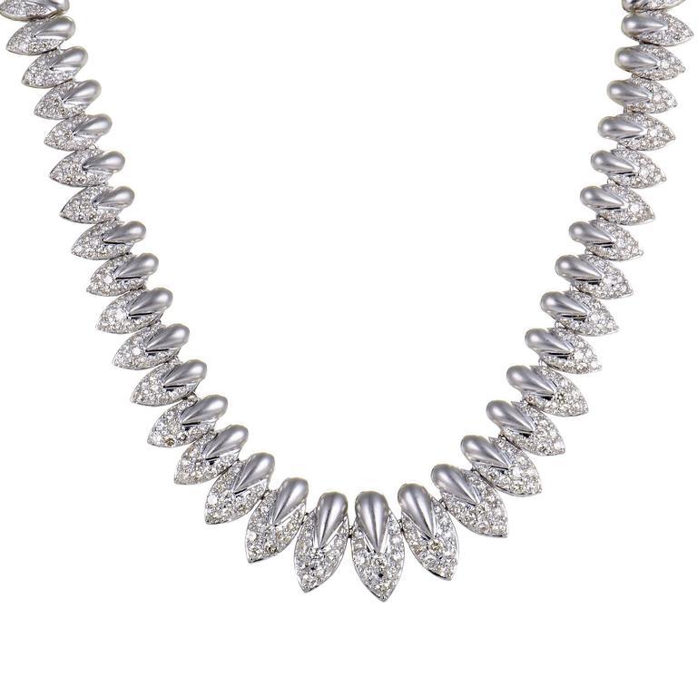 Diamond Pave Platinum Choker Necklace