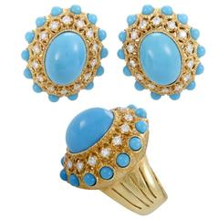 Turquoise Diamond Yellow Gold Ring and Clip-On Earring Set