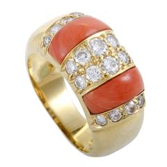 Bellini Coral Diamond Yellow Gold Band Ring